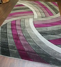 Rugs Approx 6x4FT 120CMx160CM Carved Rugs Top Quality Grey/Purple Nice X Design.